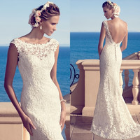 Boho wedding dresses backless lace button o neck  bridal gown