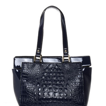 Mock Croc Blue Bucket Tote Bag