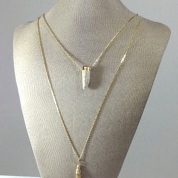 White Horn Gold Tassel Necklace  **Buy 1, Get 1 50% off