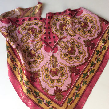 Pink Floral Paisley Scarf - Gift for Mom - Daughter - Coworker Gift - Milti color Gift - Mother in law - Niece - Boss Gift