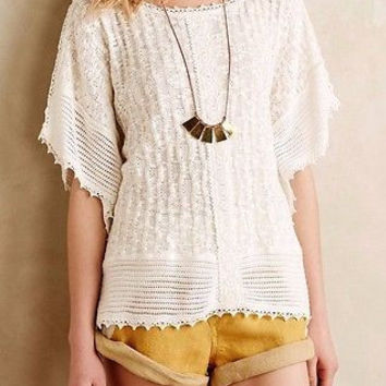 NWT Anthropologie Eula Lace Poncho by Meadow Rue XS/S and M/L