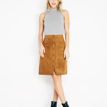 Button-Down Faux Suede Skirt With Pockets | Wet Seal