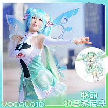 limited Edition VOCALOID Miku 2018 Racing Cosplay Costume Fairy Dress Wing