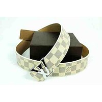 LV and Supreme  Red Woman Fashion Smooth Buckle Belt Leather Belt White