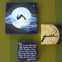 Peter Pan Set of 3 Canvas Paintings You know the by StarlingNight
