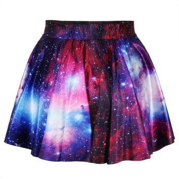 Universe Cosmic Galaxy Nebula Space Print Circle Skirt with Elastic Waist