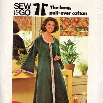 Butterick Retro Boho Hippie Style Caftan 70s Sewing Pattern House Dress Bell Sleeve Robe Pullover Plus Size Uncut FF Bust 40