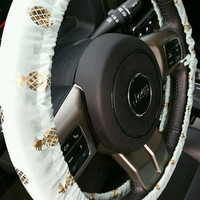 Pineapple Gold and Mint Print Steering Wheel Cover