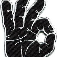 OK okay hand sign signal logo retro applique iron-on patch new S-796