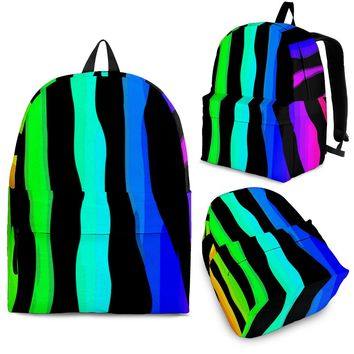 Bright Rainbow Zebra Stripe Backpack