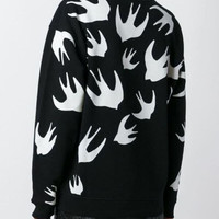 Bird Printed Long Sleeve Black Jacket