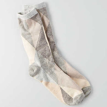 AEO Diamond Crew Socks, Light Heather