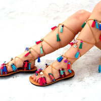 Pom Pom Leather  Sandals, Greek lace up Sandals, Tie up Sandals, Geniun leather shoes, coloffull Valentine's gift for women
