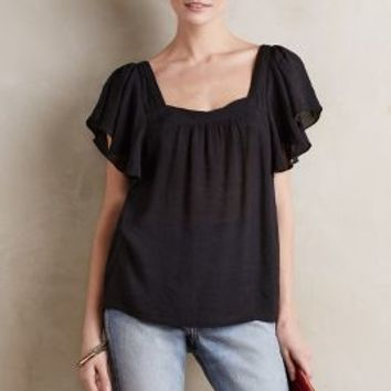 Maeve Parkes Square-Neck Top in Black Size: