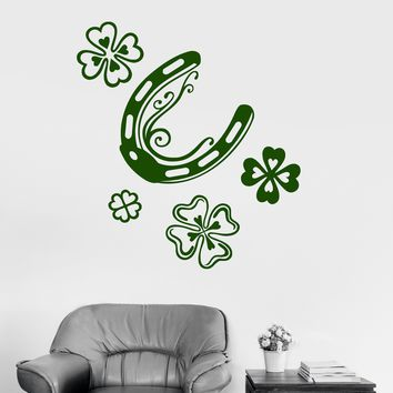 Wall Vinyl Decal Luck Horseshoe Shamrock Talisman Art Mural Stickers Unique Gift (ig3089)