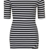 PETITE EXCLUSIVE Asymmetric Striped Bodycon Dress