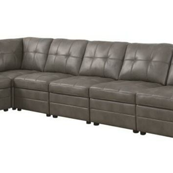 551291 6 pc Clayton collection stone grey breathable leatherette upholstered modular sectional sofa with pocket coil spring seating