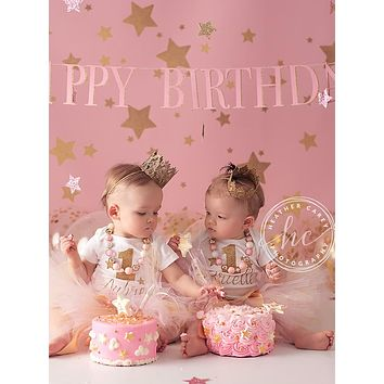 Printed Pink Background Gold Star Backdrop - 6931