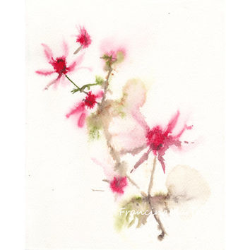 Flower Watercolor painting art blossom branch floral pink garden impression aquarelle