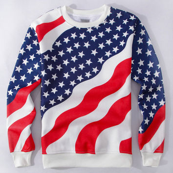 Stars and Stripes Flag Print Sweatshirt