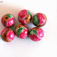 Pink Rose Beads, Handmade Beads, Pink Beads, Jewelry Making Supplies, Beading Supplies