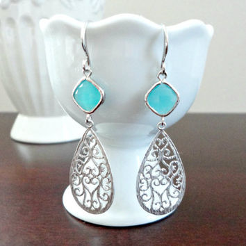 Teardrop filigree earrings, Aqua mint blue glass and chandelier earrings, Wedding jewelry, Bridesmaid earrings, Simple everyday earrings