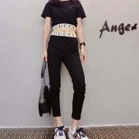 """Gucci"" Women Casual Fashion Knit Letter Short Sleeve Crop Tops High Waist Slim-fit Pants Trousers Set Two-Piece"