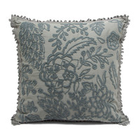 Peruvian Embroidered Cotton Pillow - Grey
