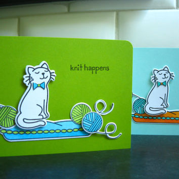 Knit Happens Card Set of 2, Thinking of You Card Set for Knitter, Cat Card Set, Cat Lover Card Set, Get Well Soon Card Set
