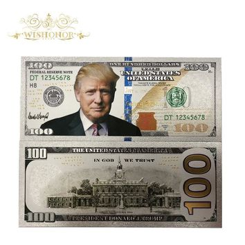 10Pcs/Lot Hot Sales Silver USA Trump Banknotes 100 Dollar Bills Banknote in 24K Gold Silver Plated Paper Money For Gifts