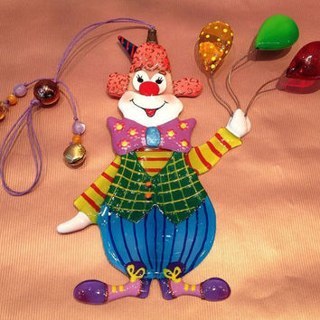 Handmade RED-HAIRED CLOWN glass fusing techniques gift for children brother sister family amulet talisman