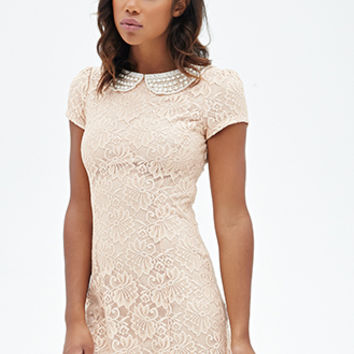 FOREVER 21 Embellished Collar Lace Dress Peach/Cream
