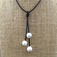 Three Pearl and Leather Choker Necklace