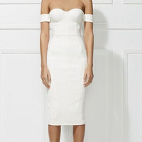 Free Shipping 2016 Womens Fall Fashion Elegant Off the Shoulder Rayon White Bandage Dress