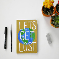 Custom hand painted Moleskine notebook, Lets Get Lost, Travel Diary, Writers Journal, summer finds, unique graduation gift