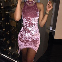 Fashion 2017 Summer Women Velvet Dress Sexy Sleeveless Club Party Dresses Ladies Turtleneck Package Hip Bodycon Vestidos