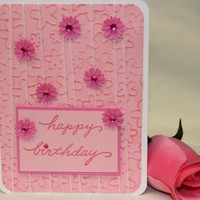 Handmade Happy Birthday Card - Pink wHandmade Flower Embellishments | foreversmemories - Cards on ArtFire