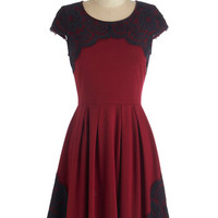 ModCloth Mid-length Cap Sleeves A-line Intermission Impossible Dress in Burgundy
