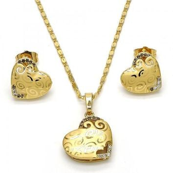 Gold Layered 10.241.0005 Necklace and Earring, Heart Design, with White Micro Pave, Polished Finish, Golden Tone