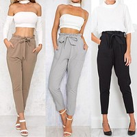 New Fashion Women High Waist Empire Elastic Harem Pants Capris OL Solid Ruffles Lace-up Drawstring Pencil Pants Trousers Rompers
