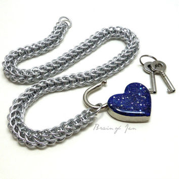 Locking Slave Collar Silver Aluminum with Sparkly Cobalt Blue Heart Shaped Padlock