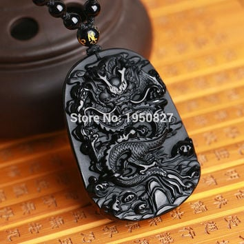 Unique Natural Black Obsidian Carving Dragon Lucky Amulet Pendant Necklace For Women Men Pendants Jade Jewelry Dropshipping