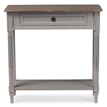 Baxton Studio Edouard French Provincial Style White Wash Distressed Two-tone 1-drawer Console Table  Set of 1