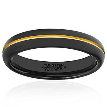 4mm Black Tungsten Men Wedding Rings High Polished Center Groove 18K Gold Plated Engagement Band