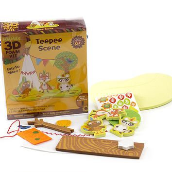 "Foamies 3-D Foam Kit, Teepee Scene, 6.5"", Makes 1"