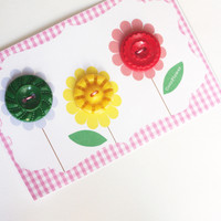 3 Buttons fancy vintage button multicolored flower
