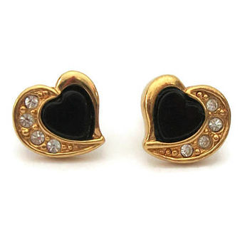 Vintage Avon Black Lucite & Gold Tone Heart Earrings w/ Clear Rhinestone Accents - Signed Stud Earrings Hypoallergenic Surgical Steel Posts