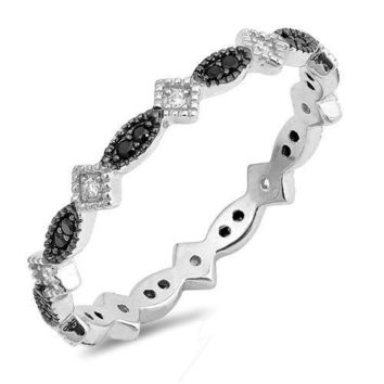 Sterling Silver 925 ETERNITY MARQUISE DESIGN BLACK CLEAR CZ RING 4MM SIZE 4-10