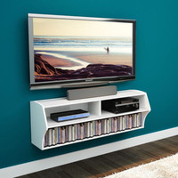 Modern Wall-Mounted A/V Console With Shelves Living Room Furniture White Finish