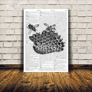 Dictionary print Bees poster Insect drawing Honeycomb art TO121
